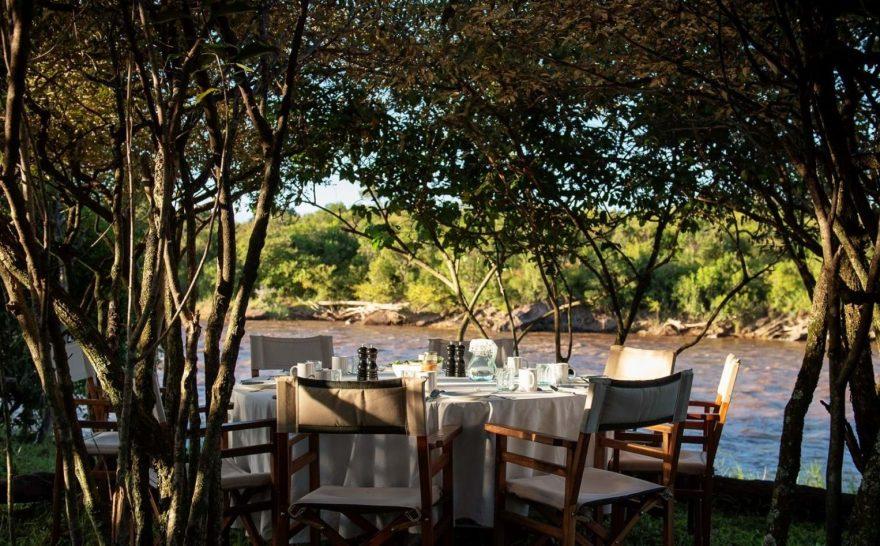 Alex Walker's Serian Nkorombo Mobile Camp river dining