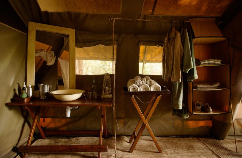 Alex Walker's Serian's Nkorombo Mobile Camp Bathroom