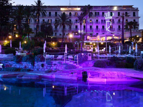 Royal Hotel San Remo Exterior Night View