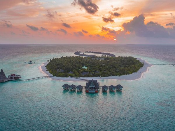 Anantara Kihavah Maldives Villas Sunset Aerial