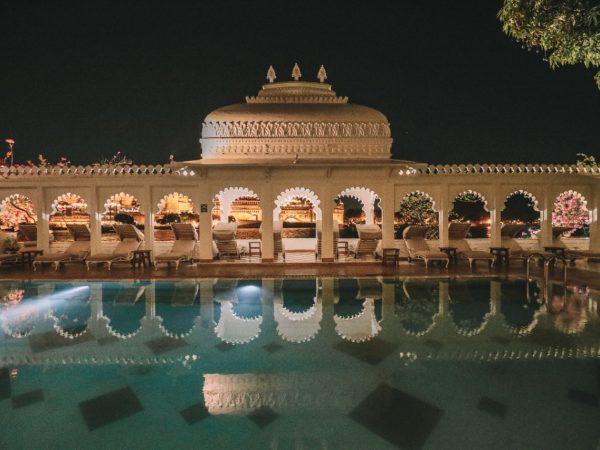 Taj Lake Palace Pool Night View