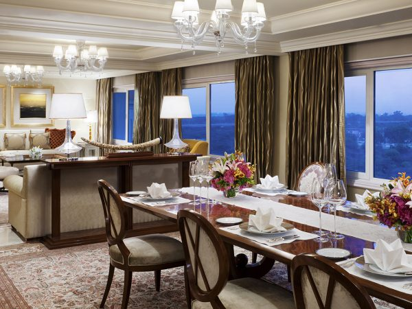 The Splended Tata Suite Dining Area at Taj Palace