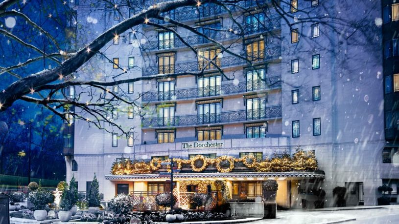 The Dorchester London exterior snow