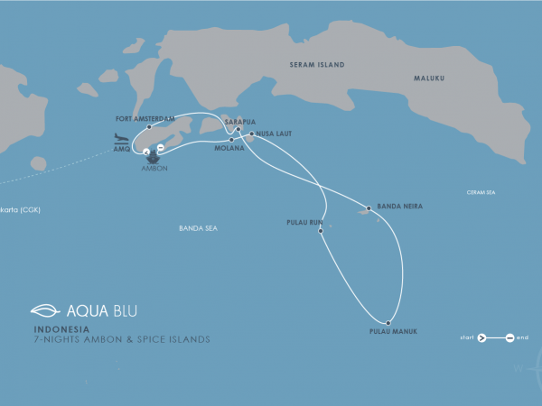 Aqua Expeditions Aqua Blu Bali Ambon to Spice Islands Cruise Map