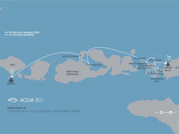 Aqua Expeditions Aqua Blu Bali to Komodo National Park Cruise Map