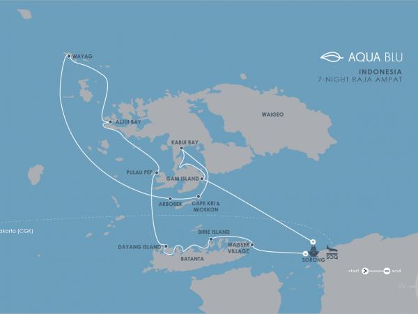 Aqua Expeditions Aqua Blu Raja Ampat Cruise Map