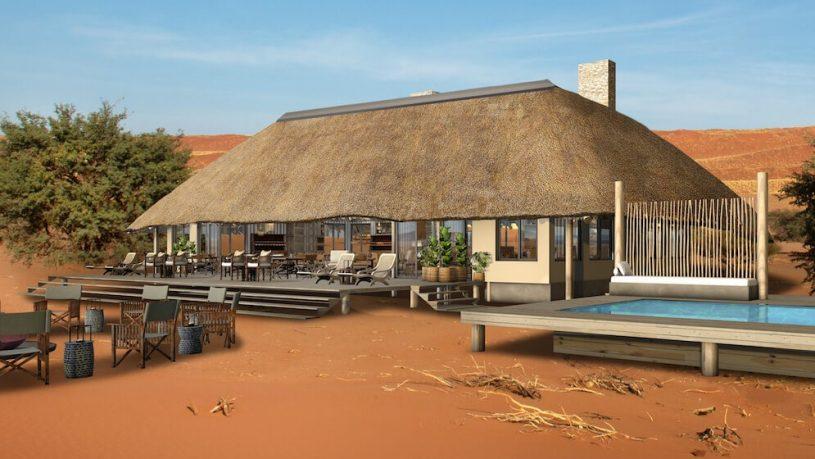 Kwessi Dunes Lodge Main area and swimming pool
