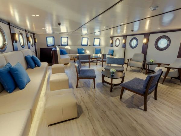 Quasar Expeditions Galapagos Island MV Evolution Yacht Inside Salon