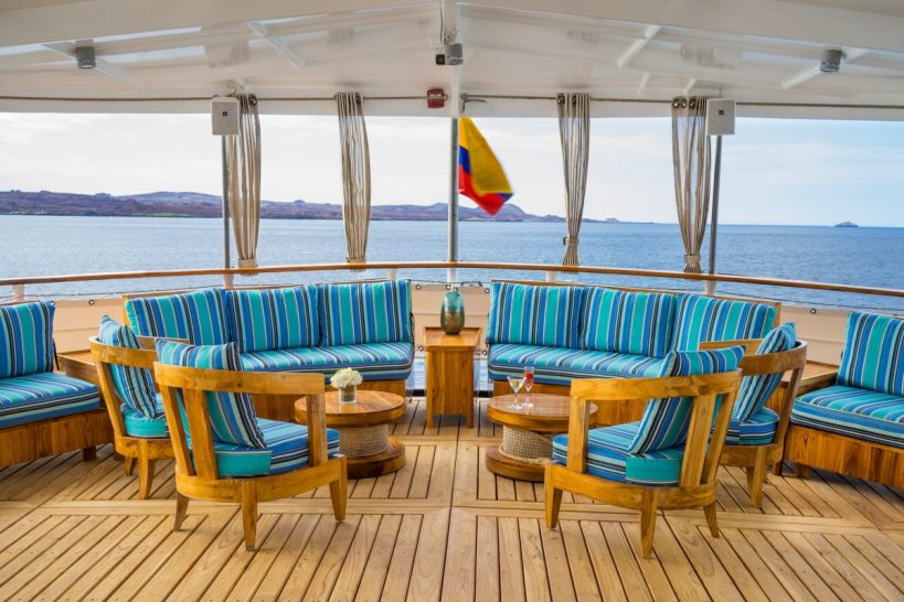Quasar Expeditions Galapagos Island MV Evolution Yacht Outside Salon