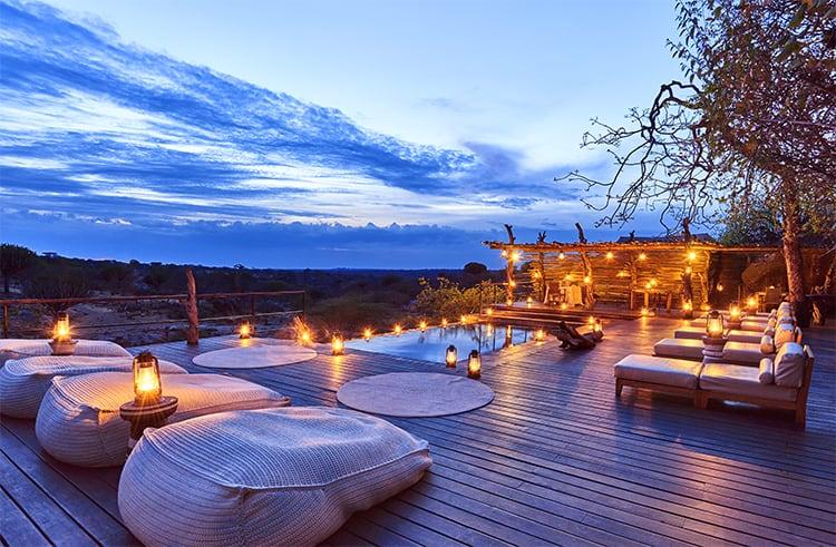 Mwiba Lodge Tanzania Pool Sunset