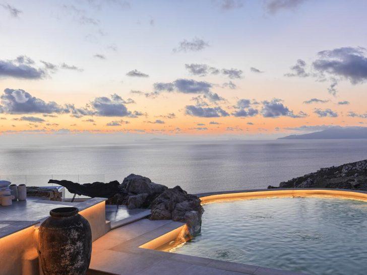 Myconian Panoptis Escape Mykonos Villa Pool Sunset