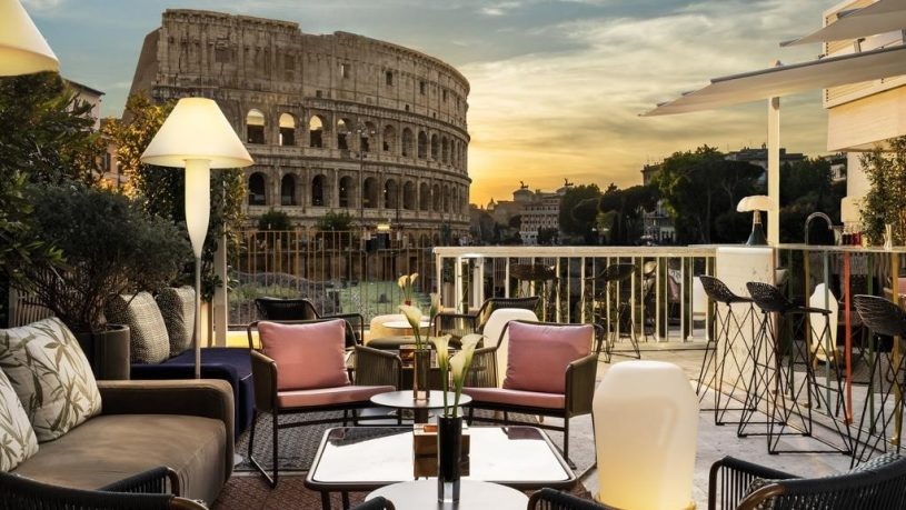 Palazzo Manfredi Rome Aroma Restaurant Terrace Colosseum View