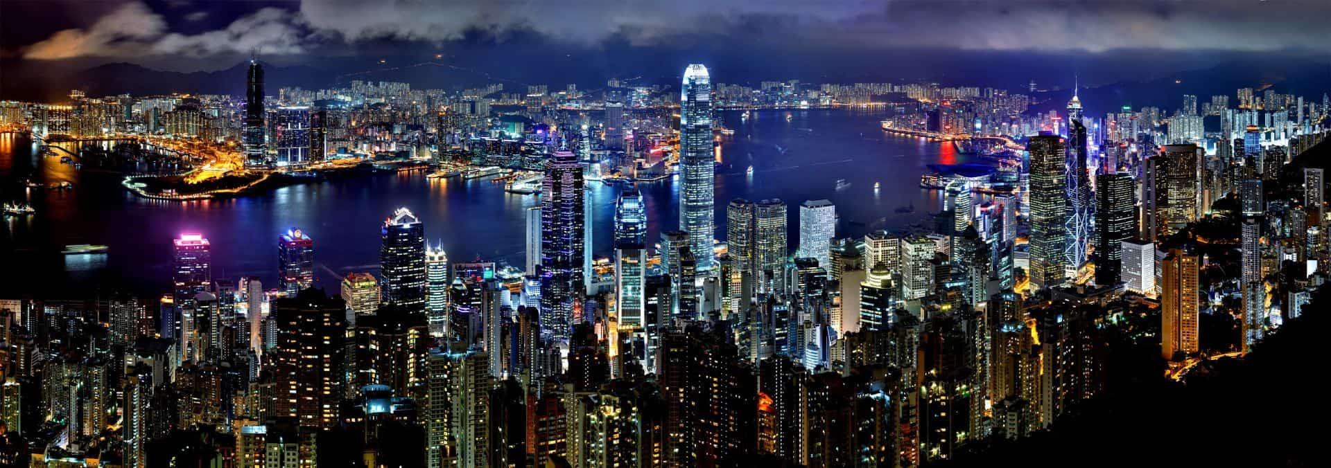 Hong Kong Night Skyline View From Peak
