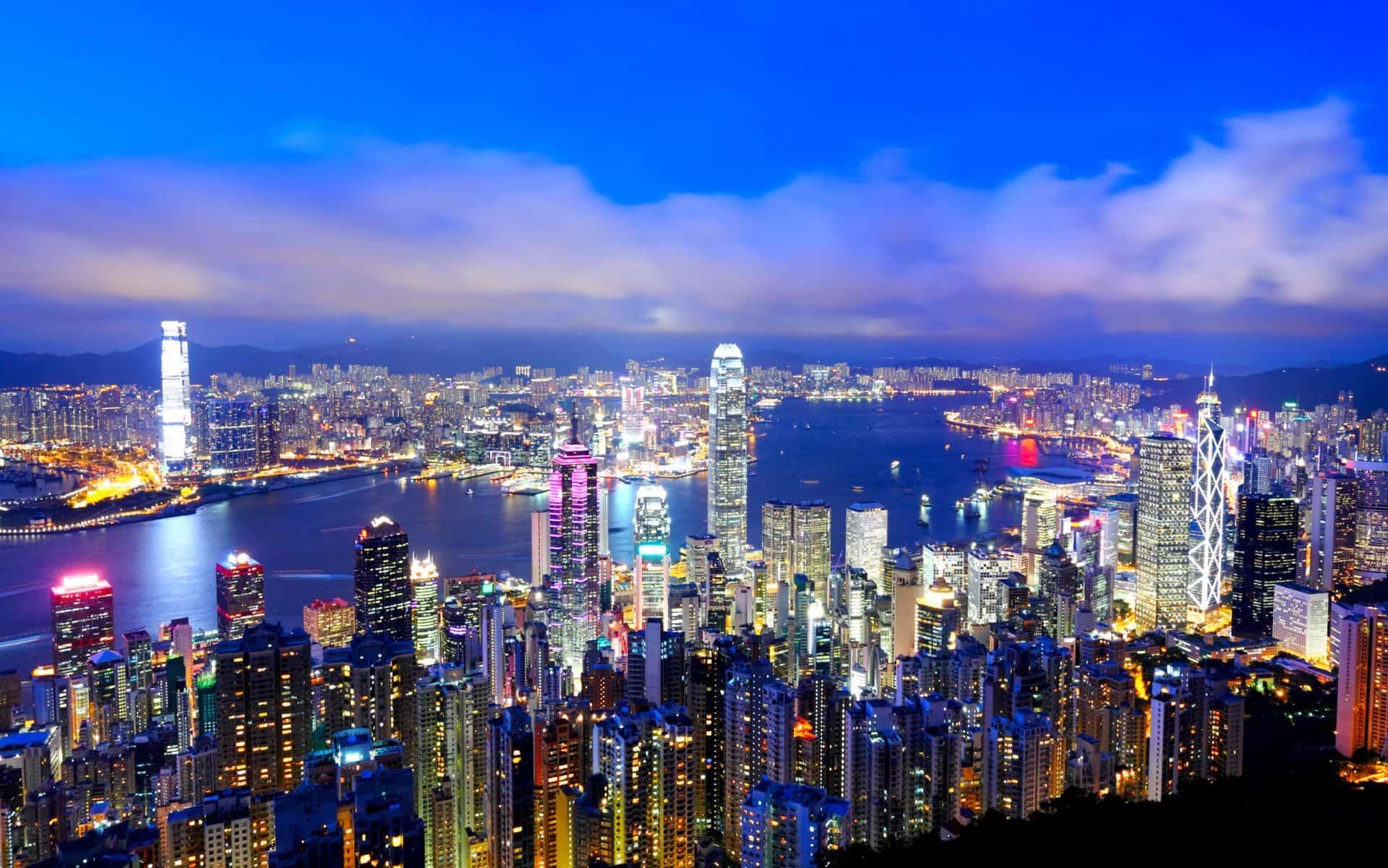 Hong Kong Skyline At Night From Victoria Peak